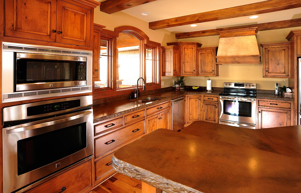 Rustic Kitchen Cabinets In Timber Frame Home