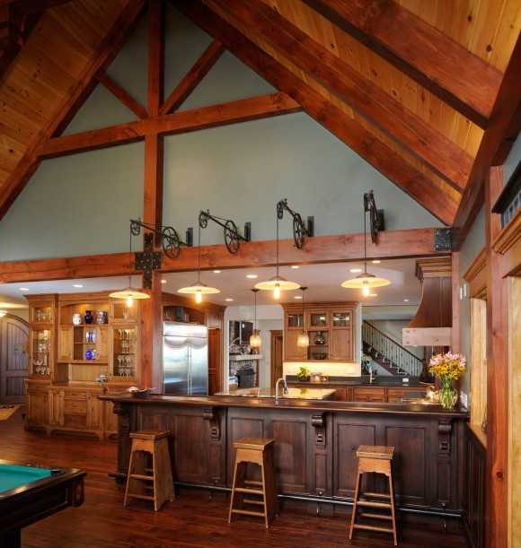 Knotty Cherry Lake House Kitchen