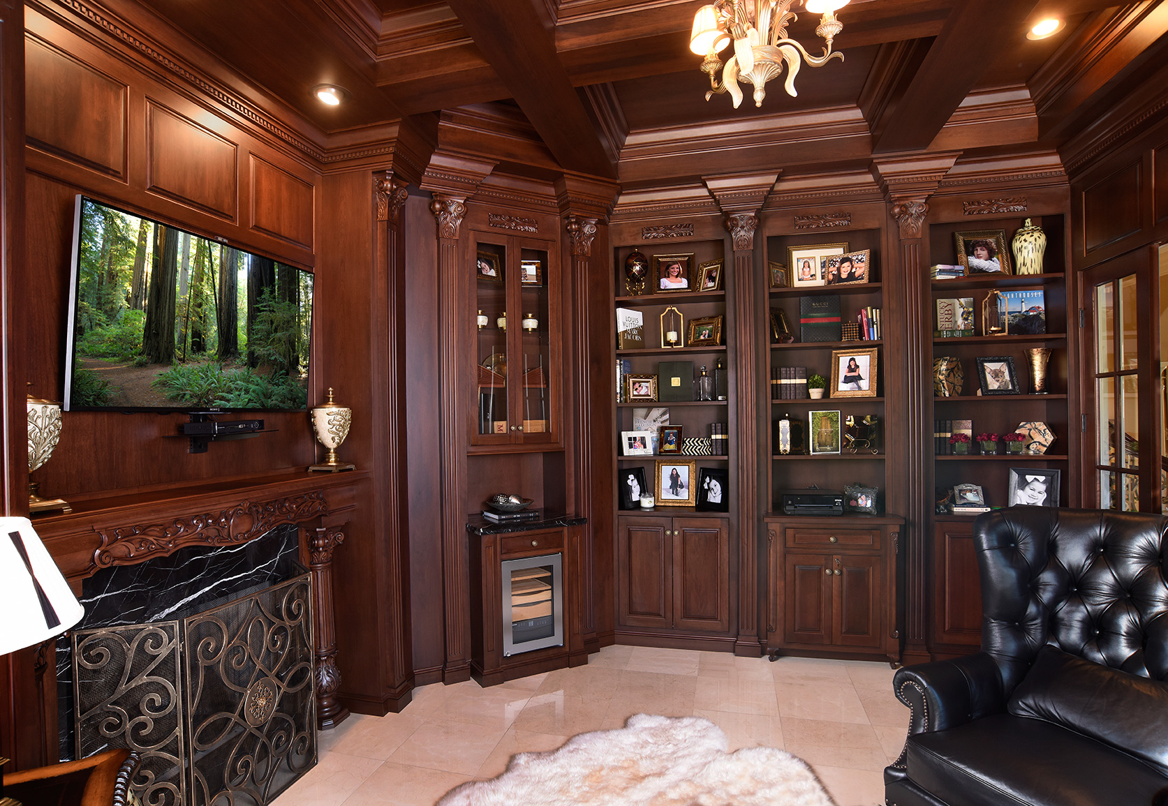 Mullet Cabinet Library Den With Cherry Cabinetry