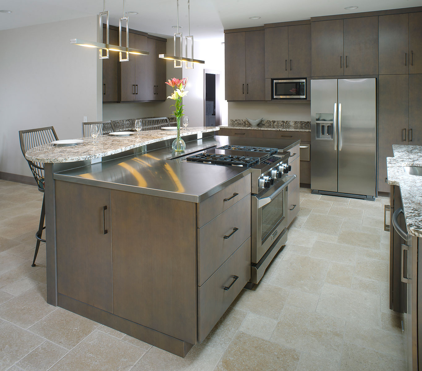 Contemporary Kitchen Counters: Contemporary Kitchen With Stainless And Granite Countertops