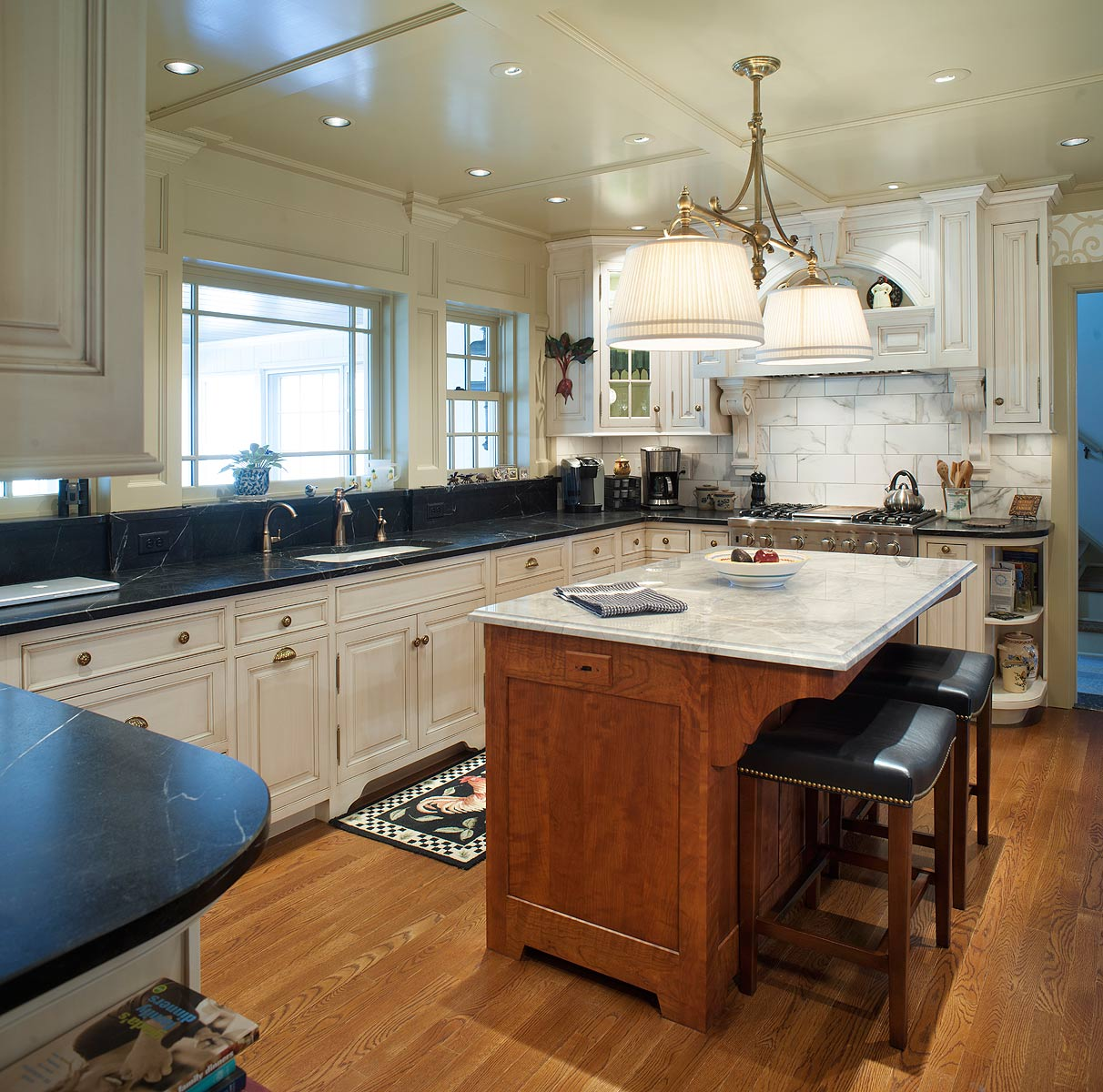 Mullet Cabinet — Nantucket Glazed Kitchen with Curly Cherry ...