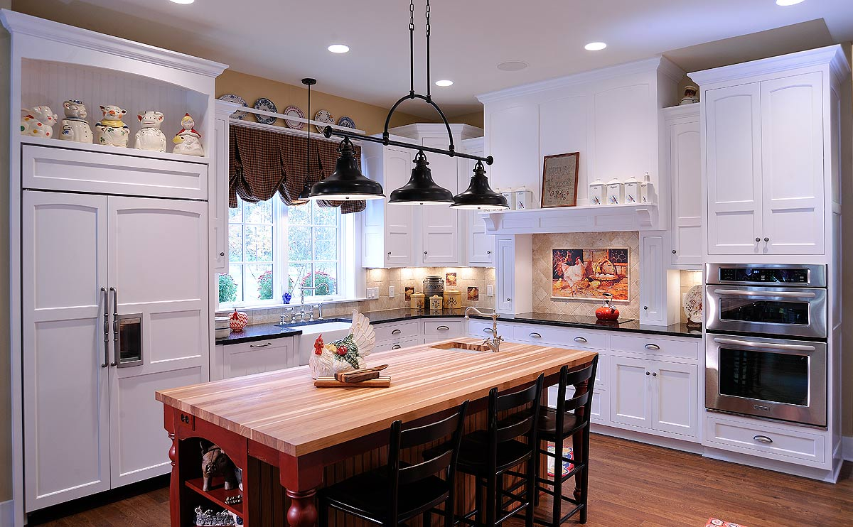 Mullet Cabinet Tall White Transitional Kitchen With Red